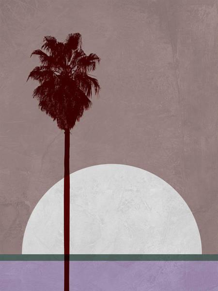 Earth Day Wall Art - Mixed Media - Sunset And Beach Palm Tree  by Naxart Studio