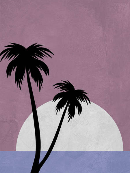 Earth Day Wall Art - Mixed Media - Sunset And Beach Palm Trees by Naxart Studio