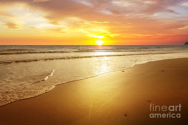 Atmosphere Wall Art - Photograph - Sunset And Beach by Sumroeng Chinnapan