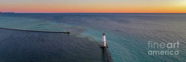 Wall Art - Photograph - Sunset And Lighthouse Aerial Panorama by Twenty Two North Photography