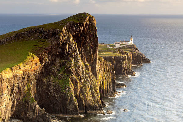 Cliffs Wall Art - Photograph - Sunset And Lighthouse At Neist Point by Luboslav Tiles