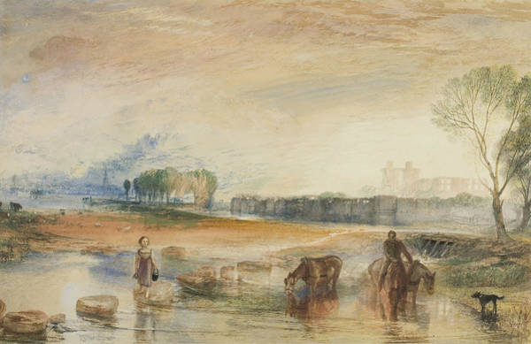 Wall Art - Drawing - Sunset And Moonrise by Joseph Mallord William Turner