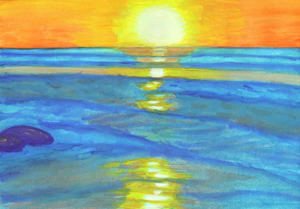 Painting - Sunset And Ocean Waves by Irina Dobrotsvet