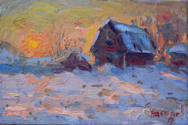 Snow Scene Painting - Sunset And Snow In The Farm  by Ylli Haruni