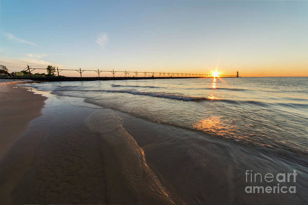 Wall Art - Photograph - Sunset And Waves In Manistee by Twenty Two North Photography