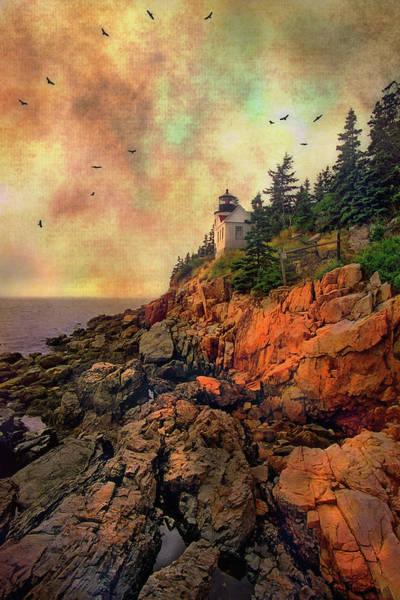 Photograph - Sunset At Bass Harbor Head Light - Acadia National Park - Maine by Joann Vitali