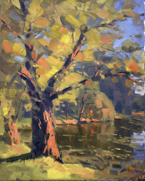 Wall Art - Painting - Sunset At Bond Lake Park by Ylli Haruni