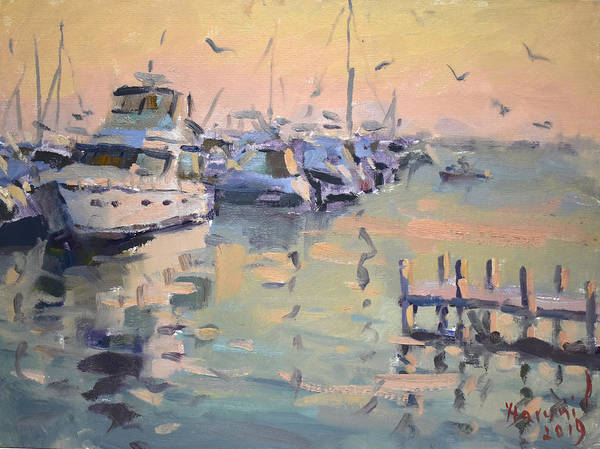 Wall Art - Painting - Sunset At Buffalo Harbor by Ylli Haruni