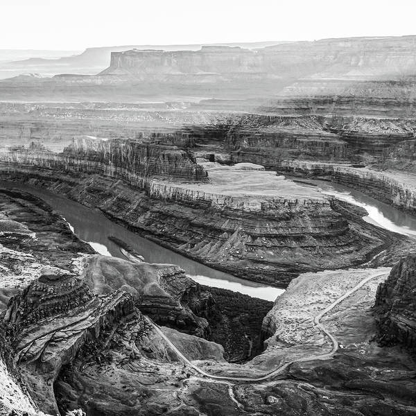 Photograph - Sunset At Dead Horse Point Horseshoe Bend - Monochrome 1x1 by Gregory Ballos
