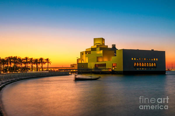 Photograph - Sunset At Doha Bay Seafront by Benny Marty