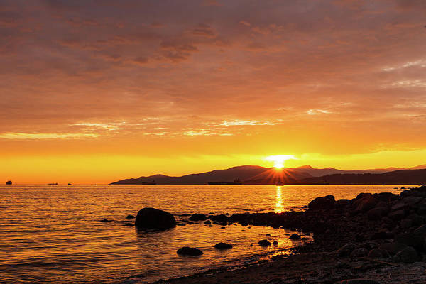 Digital Art - Sunset At English Bay In Vancouver Bc by Michael Lee