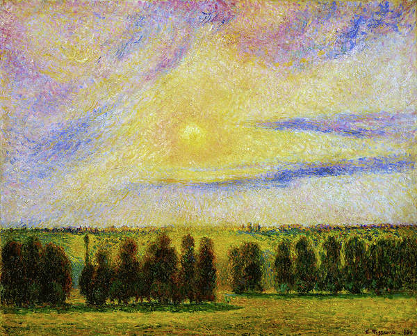 Wall Art - Painting - Sunset At Eragny - Digital Remastered Edition by Camille Pissarro