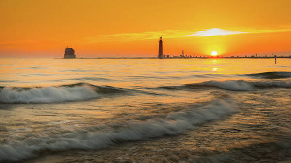 Photograph - Sunset At Grand Haven by Dan Sproul