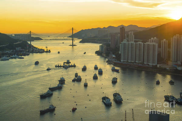 Pollution Photograph - Sunset At Hong Kong Downtown by Coloursinmylife