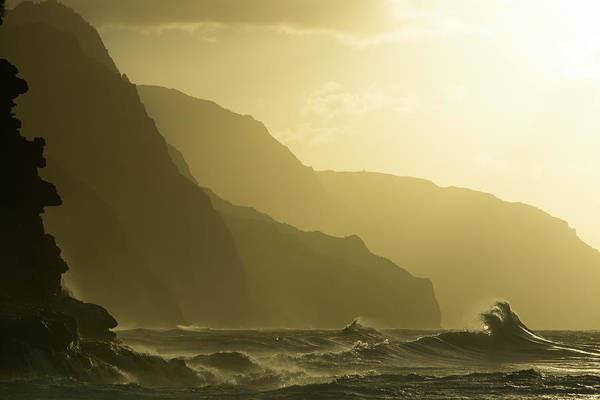 Big Island Photograph - Sunset At Kee Beach, Hawaii With by Jimkruger