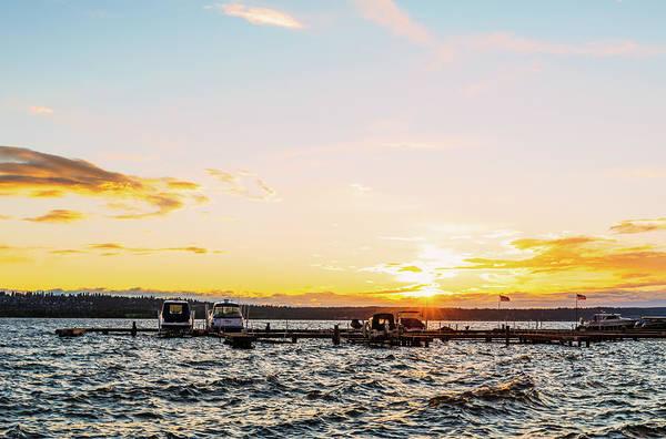 Digital Art - Sunset At Kirkland Downtown Waterfront by Michael Lee