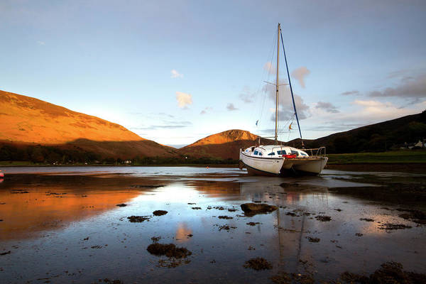Yacht Photograph - Sunset At Lochranza by Paddy Mcdougall Photography