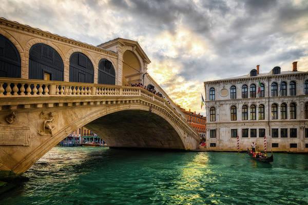 Photograph - Sunset At Rialto Bridge - Venice, Italy by Nico Trinkhaus