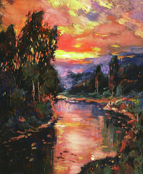 Painting - Sunset At River Bend by David Lloyd Glover