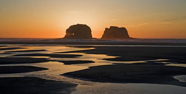 Rockaway Photograph - Sunset At Rockaway Beach, Oregon by Marilyn Dunstan