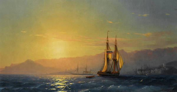 Wall Art - Painting - Sunset At Sea, 1877 by Ivan Konstantinovich Aivazovsky