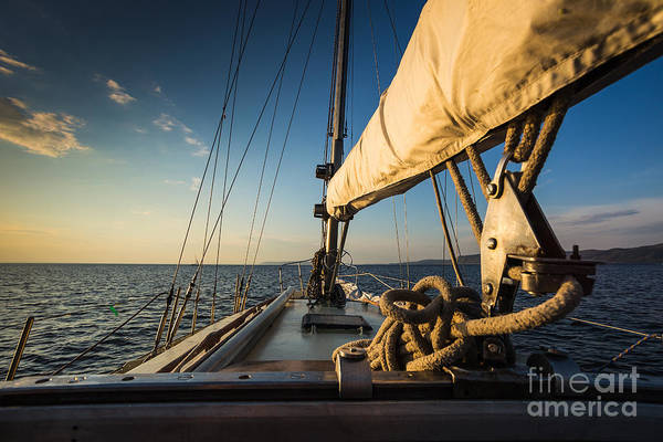 Wall Art - Photograph - Sunset At Sea On Aboard The Yacht by Zhukov Oleg