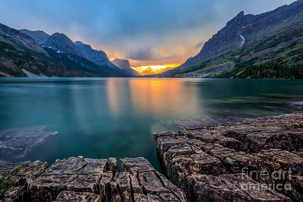 Sunset At St. Mary Lake, Glacier Art Print