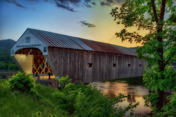 Photograph - Sunset At The Cornish Windsor Covered Bridge by Joann Vitali