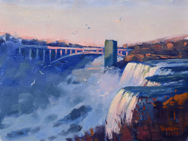 Wall Art - Painting - Sunset At The Falls by Ylli Haruni