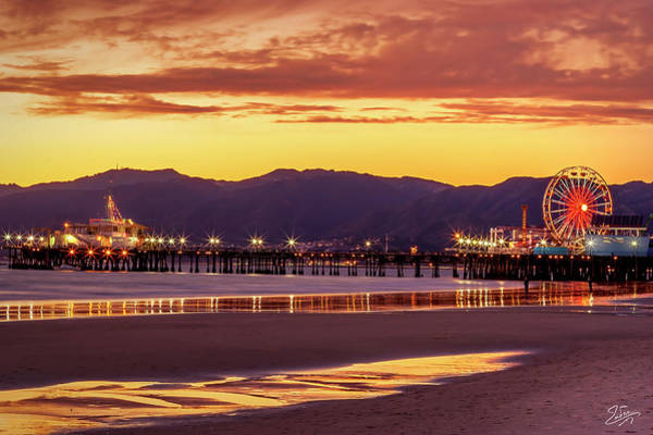 Photograph - Sunset At The Santa Monica Pier by Endre Balogh