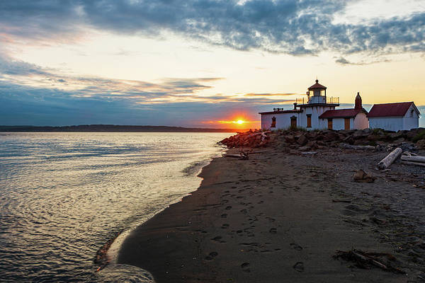 Digital Art - Sunset At West Point Lighthouse Beach by Michael Lee