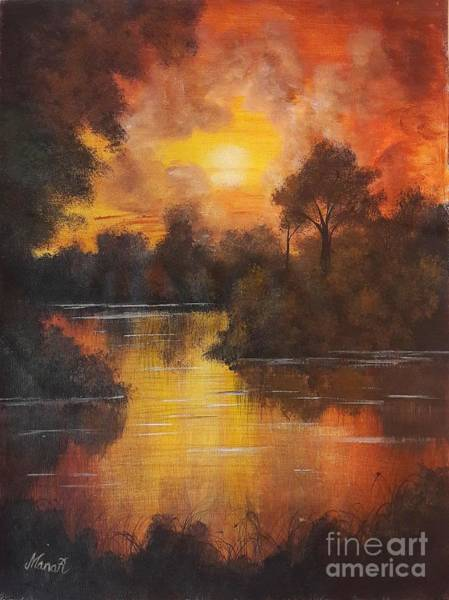Painting - Sunset By The Lake by Manar Hawsawi