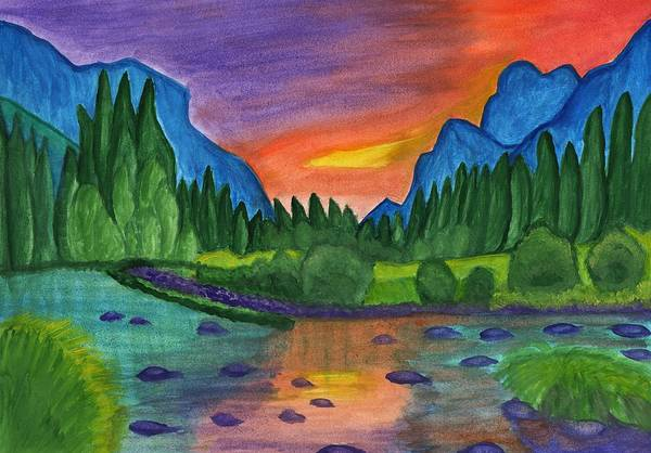 Painting - Mountain River In The Background Of The Forest And The Blue Mountains At Sunset by Irina Dobrotsvet