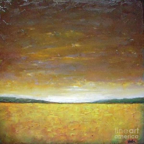 Wall Art - Painting - Golden Sunset - Abstract Landscape by Vesna Antic