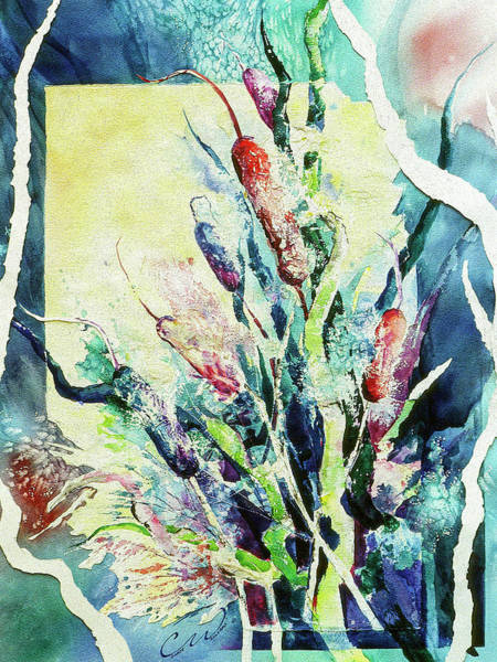 Painting - Sunset Cattails by Connie Williams