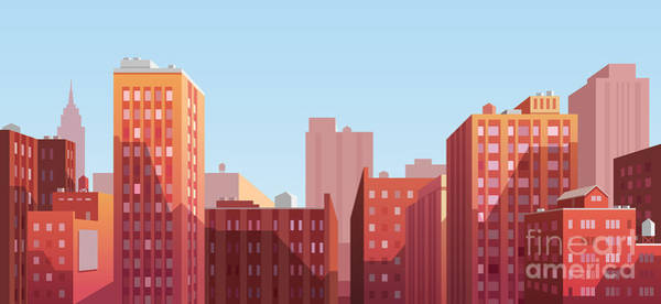 Wall Art - Digital Art - Sunset Cityscape. Vector Illustration by Doremi