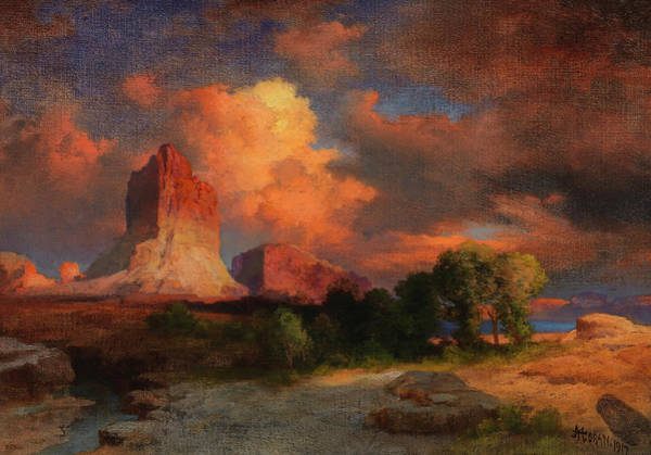 Wall Art - Painting - Sunset Cloud, Green River, Wyoming, 1917 by Thomas Moran