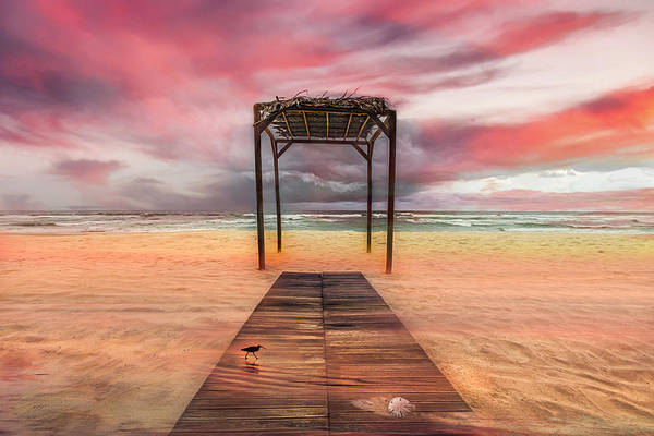 Photograph - Sunset Colors At The Beach  by Debra and Dave Vanderlaan