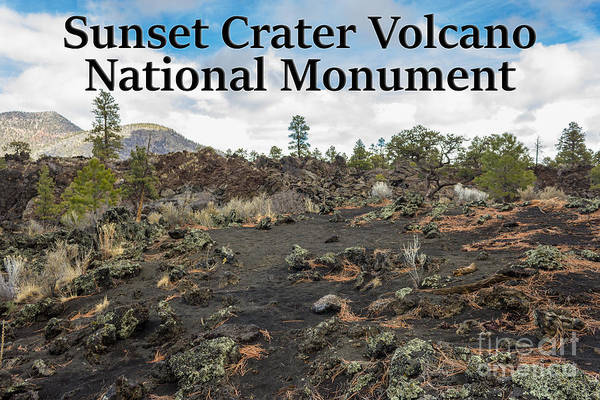 Photograph - Sunset Crater National Park View 1 With Title by G Matthew Laughton