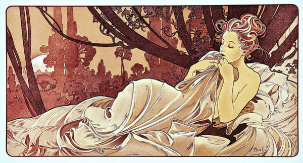Mucha Painting - Sunset - Digital Remastered Edition by Alfons Maria Mucha