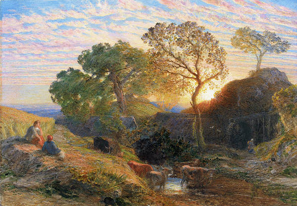 Wall Art - Painting - Sunset - Digital Remastered Edition by Samuel Palmer