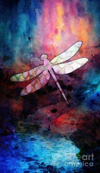 Wall Art - Painting - Sunset Dragonfly by Mo T