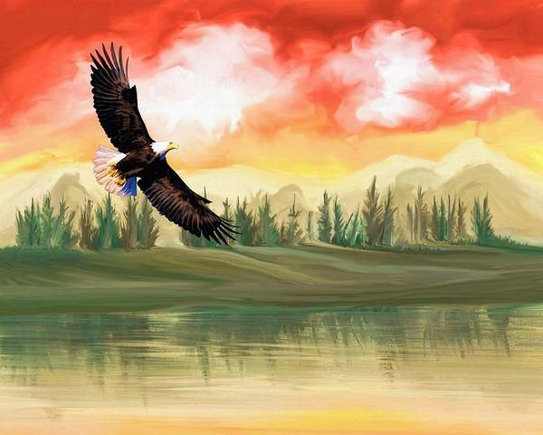 Wall Art - Painting - Sunset Eagle by ArtMarketJapan