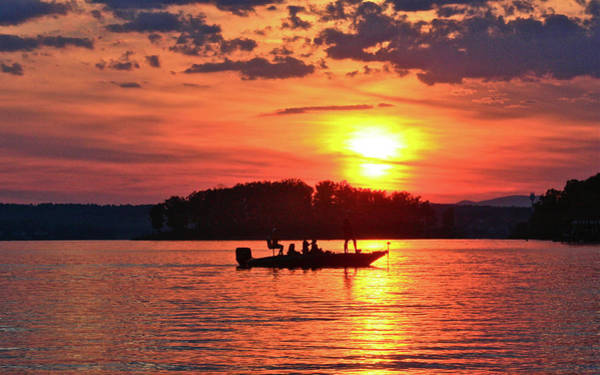Photograph - Sunset Fishermen, Smith Mountain Lake by James B Roney