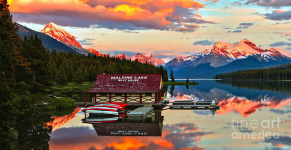Photograph - Sunset Glow Over The Maligne Lake Boathouse by Adam Jewell
