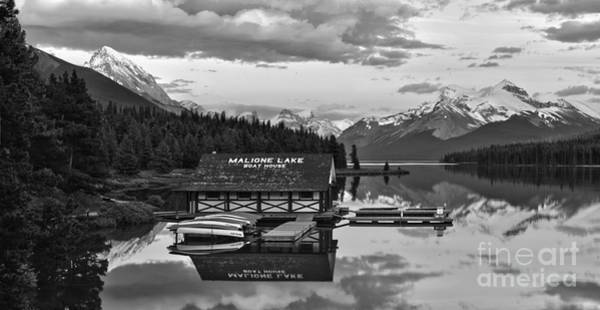 Photograph - Sunset Glow Over The Maligne Lake Boathouse Black And White by Adam Jewell