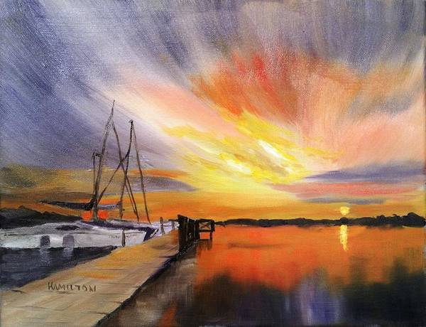 Painting - Sunset Harbor by Larry Hamilton