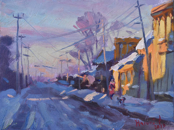 Power Painting - Sunset In A Snowy Street by Ylli Haruni