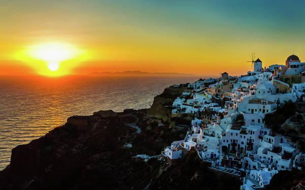 Greece Photograph - Sunset In Oia, Santorini, Greece by Marius Roman