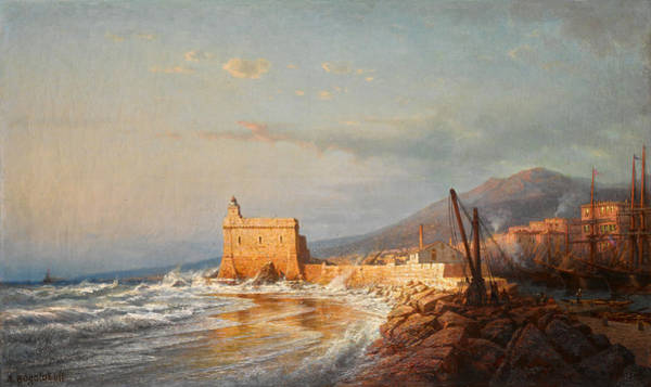 Painting - Sunset In Stormy Weather, Menton by Alexey Petrovich Bogolyubov